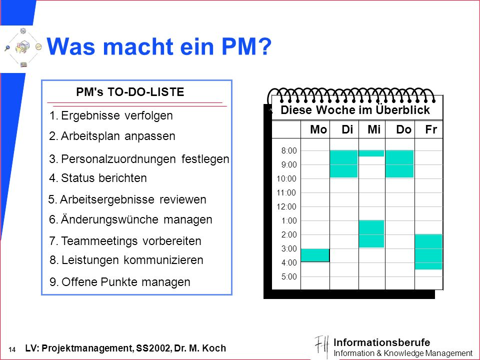 LV: Projektmanagement, SS2002, Dr. M. Koch 13 Informationsberufe Information & Knowledge Management Rollen des Projektleiters
