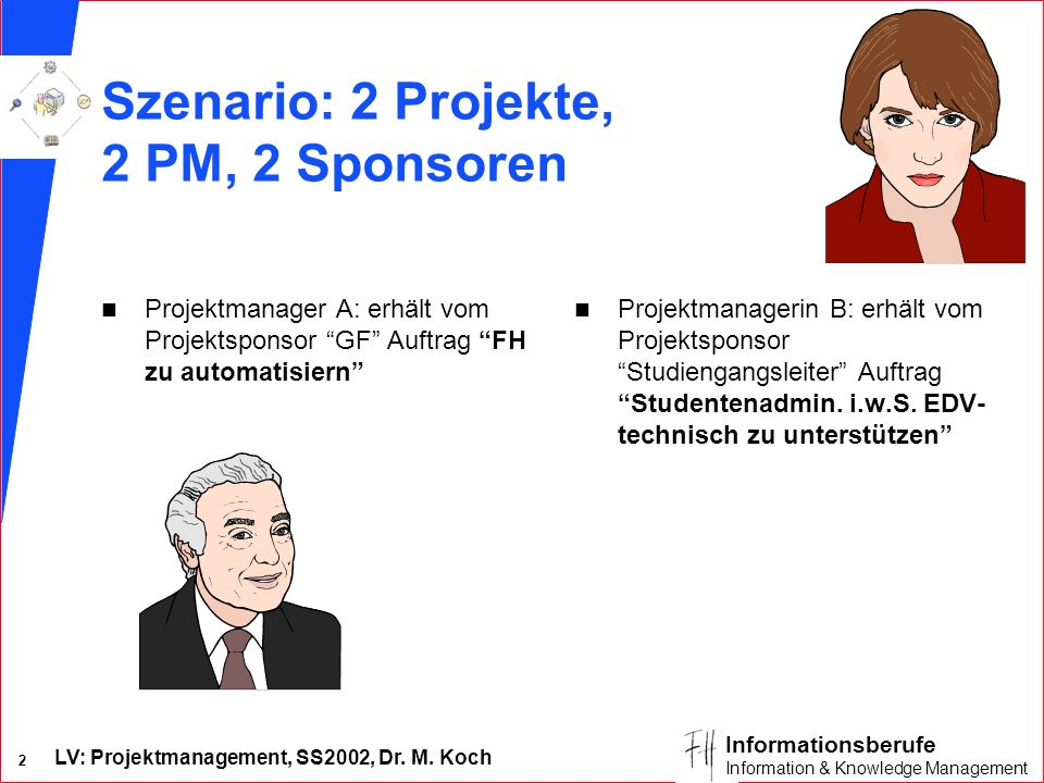 LV: Projektmanagement, SS2002, Dr. M. Koch 1 Informationsberufe Information & Knowledge Management Projektmanagement & Controlling