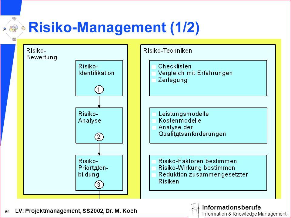 LV: Projektmanagement, SS2002, Dr. M. Koch 64 Informationsberufe Information & Knowledge Management Risiko n Möglichkeit, daß eine Aktivität einen kör