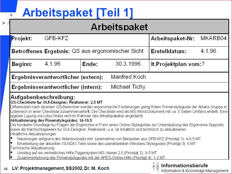 LV: Projektmanagement, SS2002, Dr. M. Koch 67 Informationsberufe Information & Knowledge Management Änder- ungsver- zeichnis Offene Punkte- Verz. Proj