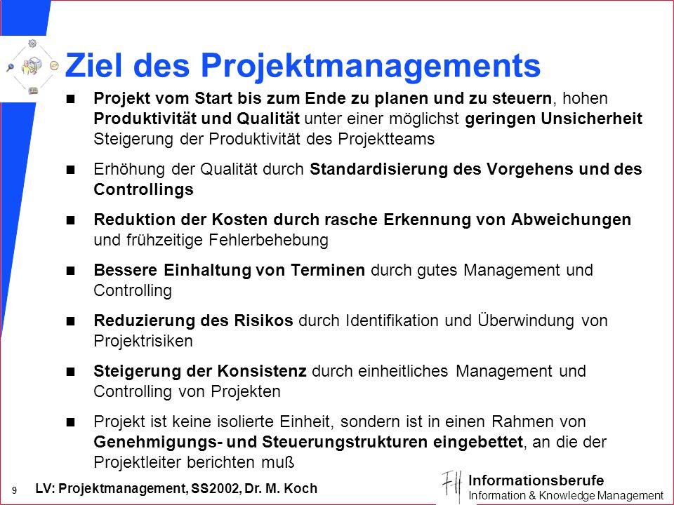 LV: Projektmanagement, SS2002, Dr. M. Koch 8 Informationsberufe Information & Knowledge Management Begriffe n Projekt hat im Projektauftrag einen Proj