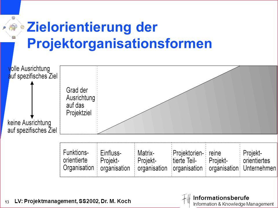 LV: Projektmanagement, SS2002, Dr. M. Koch 12 Informationsberufe Information & Knowledge Management Merkmale des projektorientierten Unternehmens n Ha