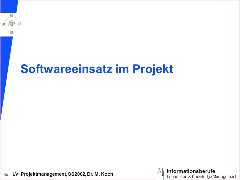 LV: Projektmanagement, SS2002, Dr. M. Koch 13 Informationsberufe Information & Knowledge Management Zielorientierung der Projektorganisationsformen