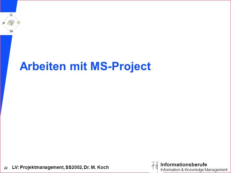 LV: Projektmanagement, SS2002, Dr. M. Koch 21 Informationsberufe Information & Knowledge Management Groupware