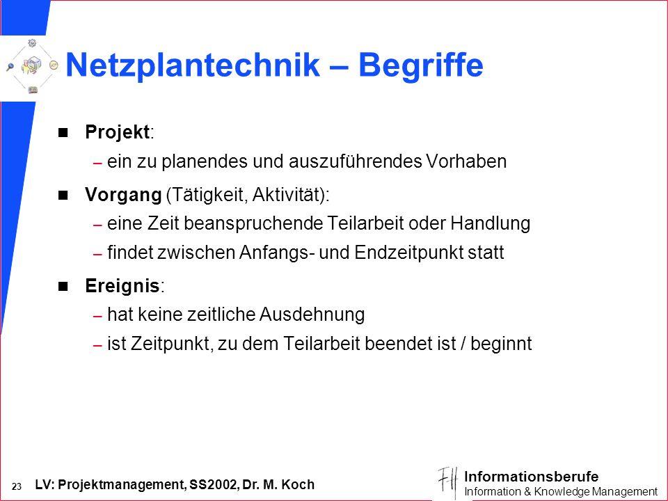 LV: Projektmanagement, SS2002, Dr. M. Koch 22 Informationsberufe Information & Knowledge Management Arbeiten mit MS-Project