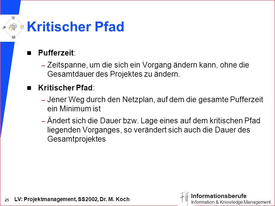LV: Projektmanagement, SS2002, Dr. M. Koch 24 Informationsberufe Information & Knowledge Management 2 Phasen der Netzplanerstellung Strukturanalyse n