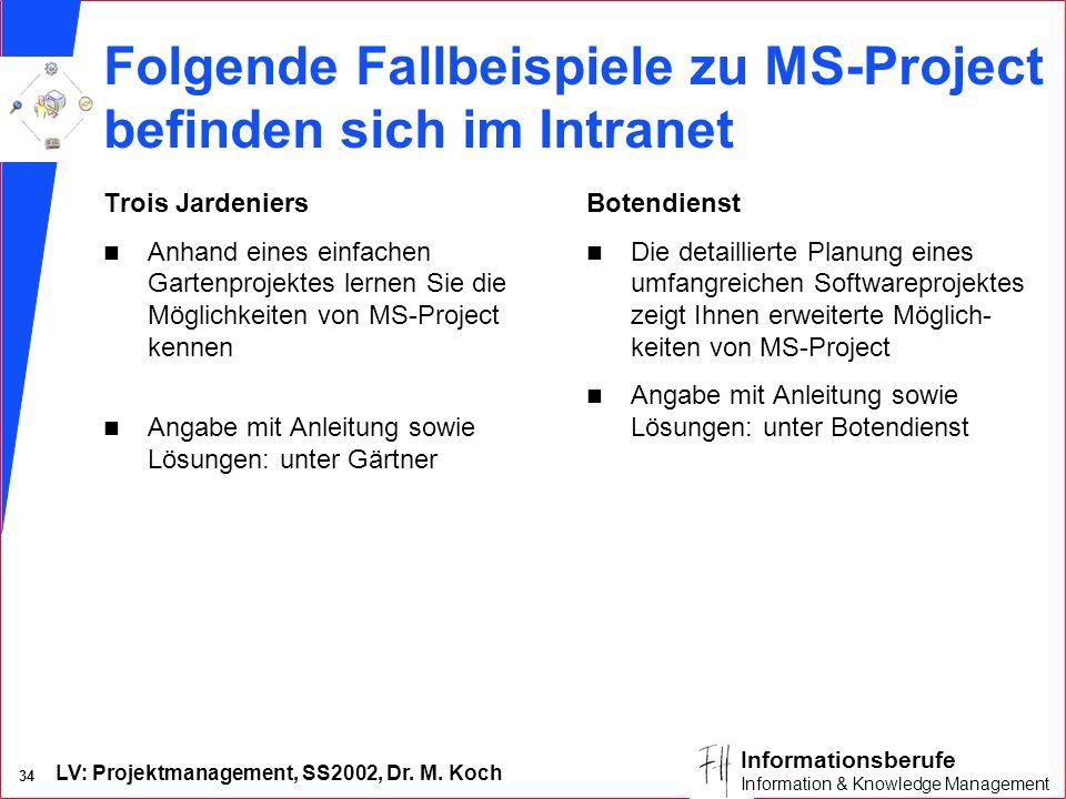 LV: Projektmanagement, SS2002, Dr. M. Koch 33 Informationsberufe Information & Knowledge Management Lösung Rechnerinstallation: CPM-Netzplan