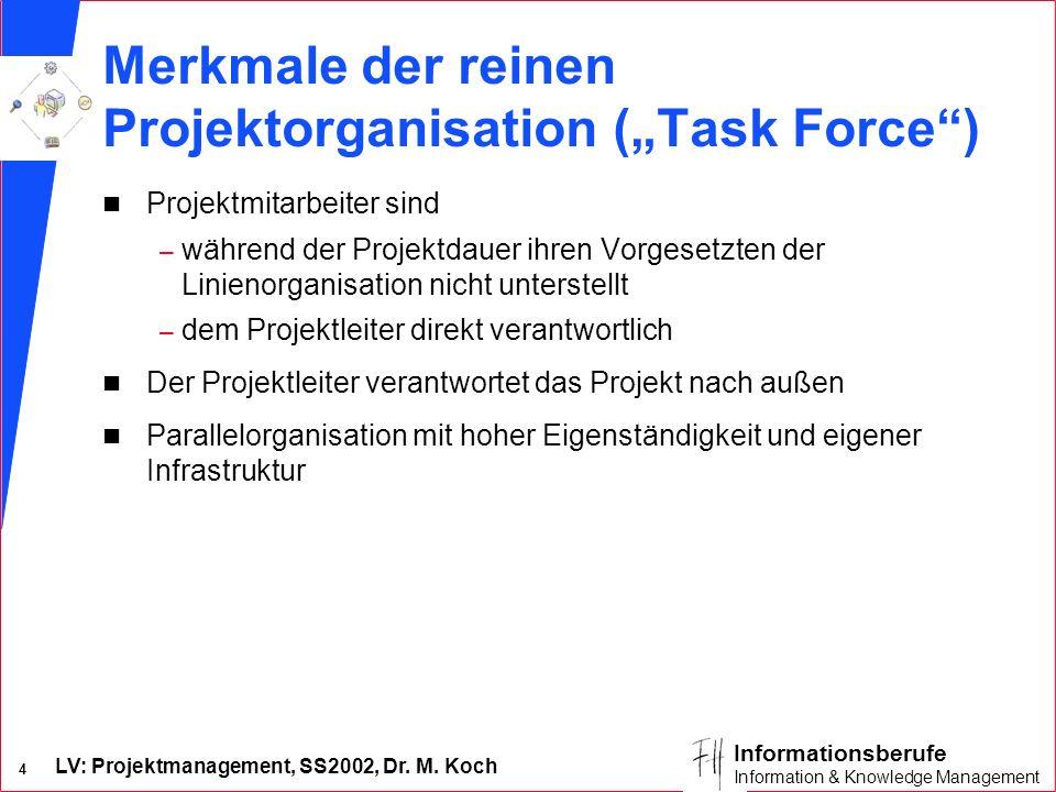 LV: Projektmanagement, SS2002, Dr. M. Koch 3 Informationsberufe Information & Knowledge Management Reine Projektorganisation