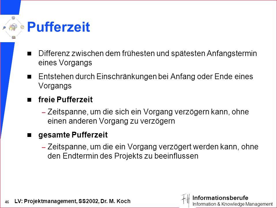 LV: Projektmanagement, SS2002, Dr. M. Koch 45 Informationsberufe Information & Knowledge Management Beziehungsarten im Vergleich