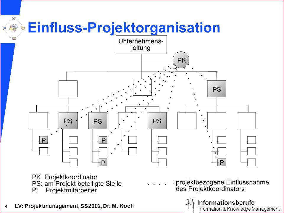LV: Projektmanagement, SS2002, Dr. M. Koch 4 Informationsberufe Information & Knowledge Management Merkmale der reinen Projektorganisation (Task Force