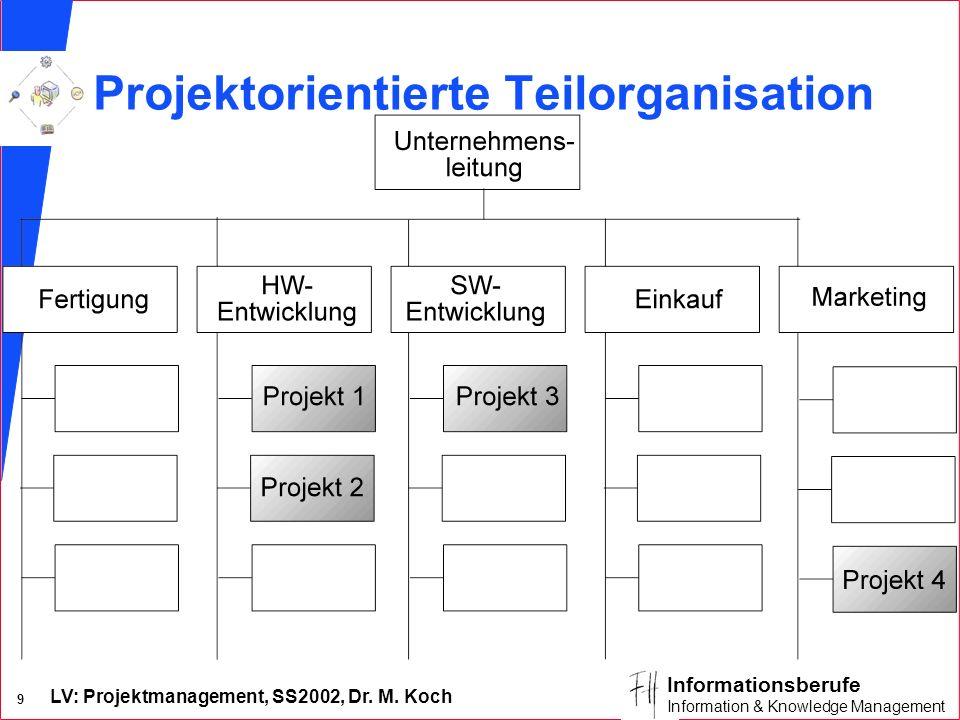 LV: Projektmanagement, SS2002, Dr. M. Koch 8 Informationsberufe Information & Knowledge Management Merkmale der Matrixorganisation n Der Projektleiter