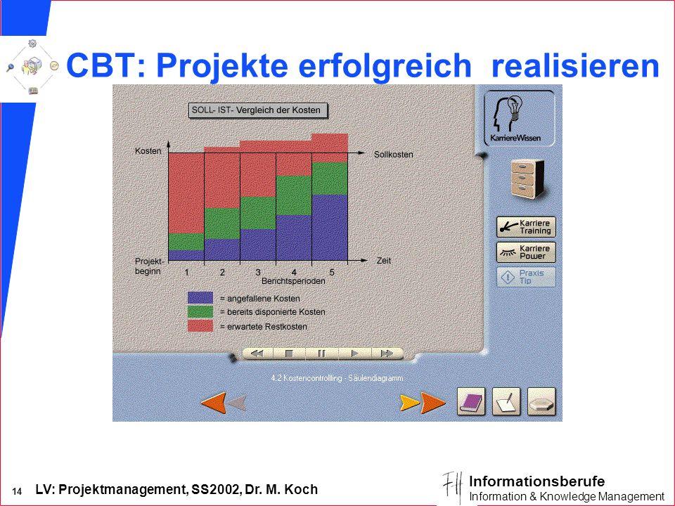 LV: Projektmanagement, SS2002, Dr. M. Koch 14 Informationsberufe Information & Knowledge Management CBT: Projekte erfolgreich realisieren