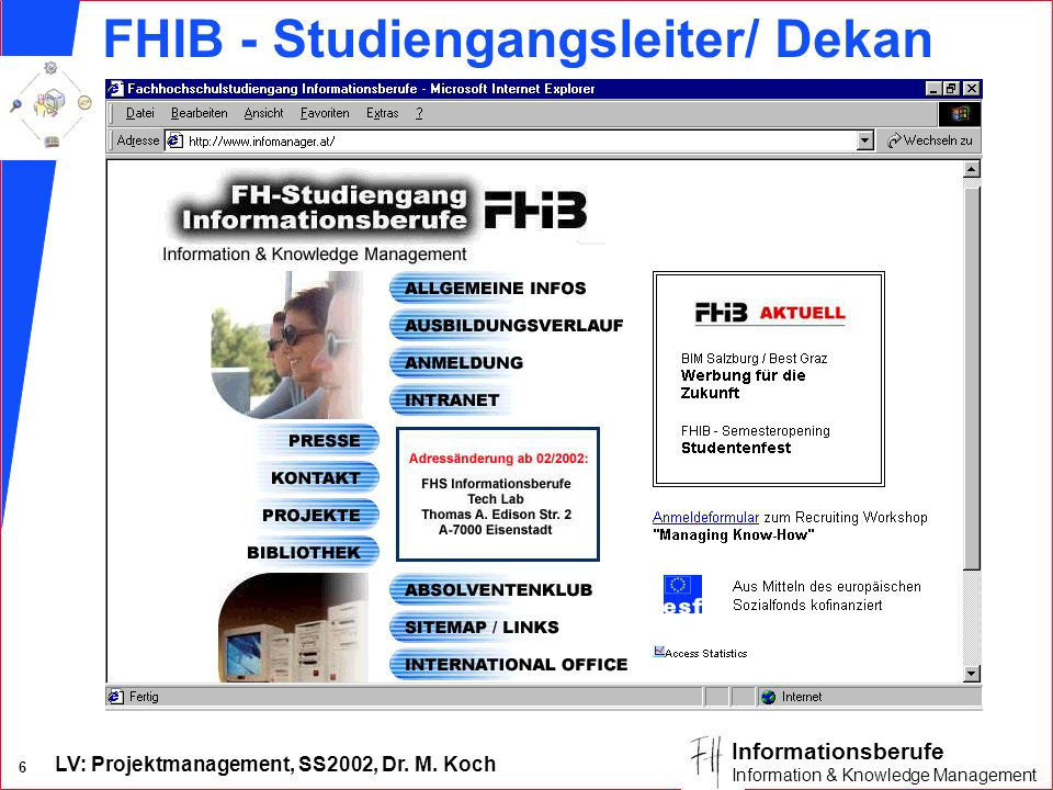 LV: Projektmanagement, SS2002, Dr. M. Koch 6 Informationsberufe Information & Knowledge Management FHIB - Studiengangsleiter/ Dekan