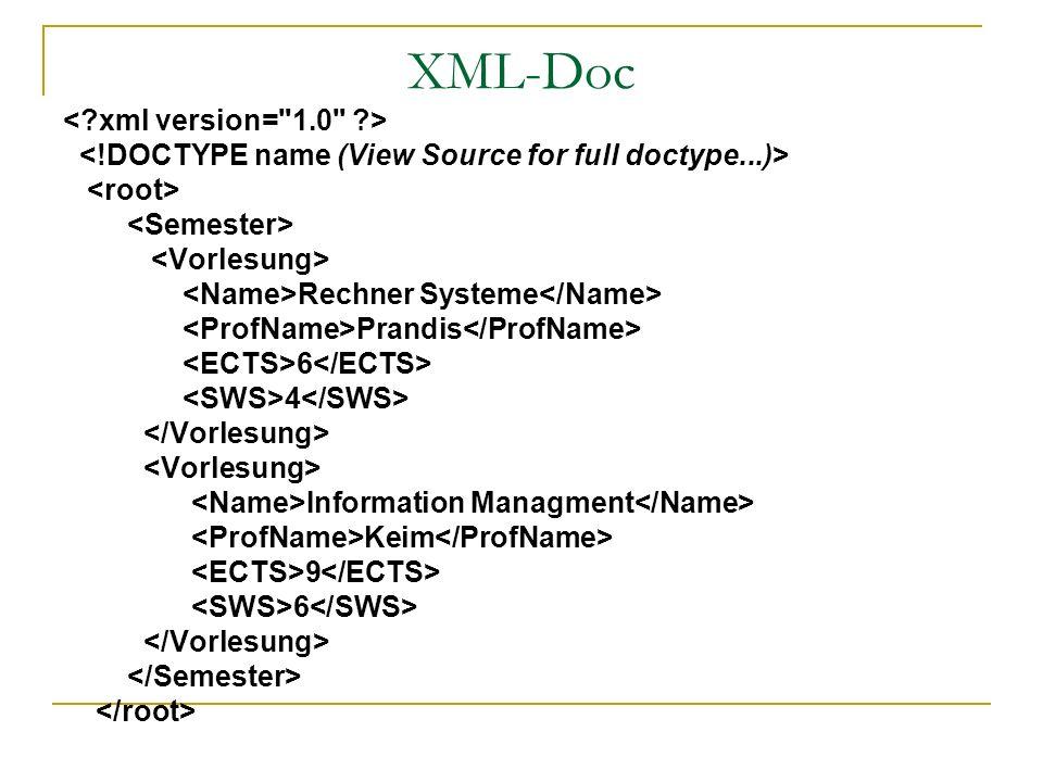 XML-Doc Rechner Systeme Prandis 6 4 Information Managment Keim 9 6