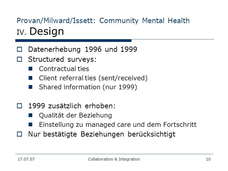 17.07.07Collaboration & Integration10 Provan/Milward/Issett: Community Mental Health IV. Design Datenerhebung 1996 und 1999 Structured surveys: Contra