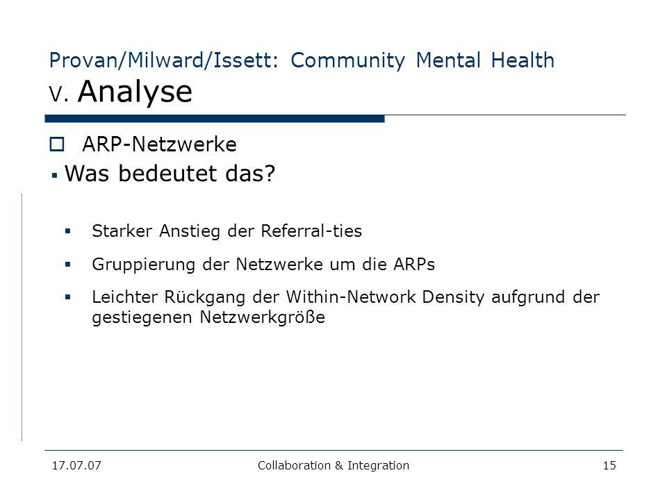 17.07.07Collaboration & Integration15 Provan/Milward/Issett: Community Mental Health V. Analyse ARP-Netzwerke ContractsReferralsCombined Shared info C