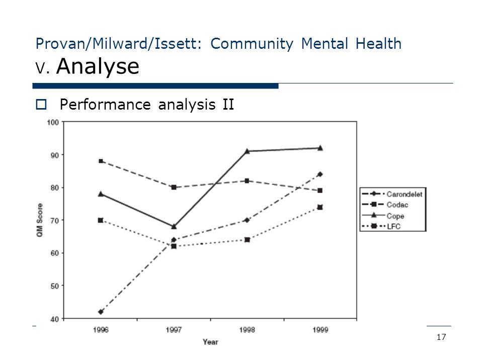 17.07.07Collaboration & Integration17 Provan/Milward/Issett: Community Mental Health V. Analyse Performance analysis II