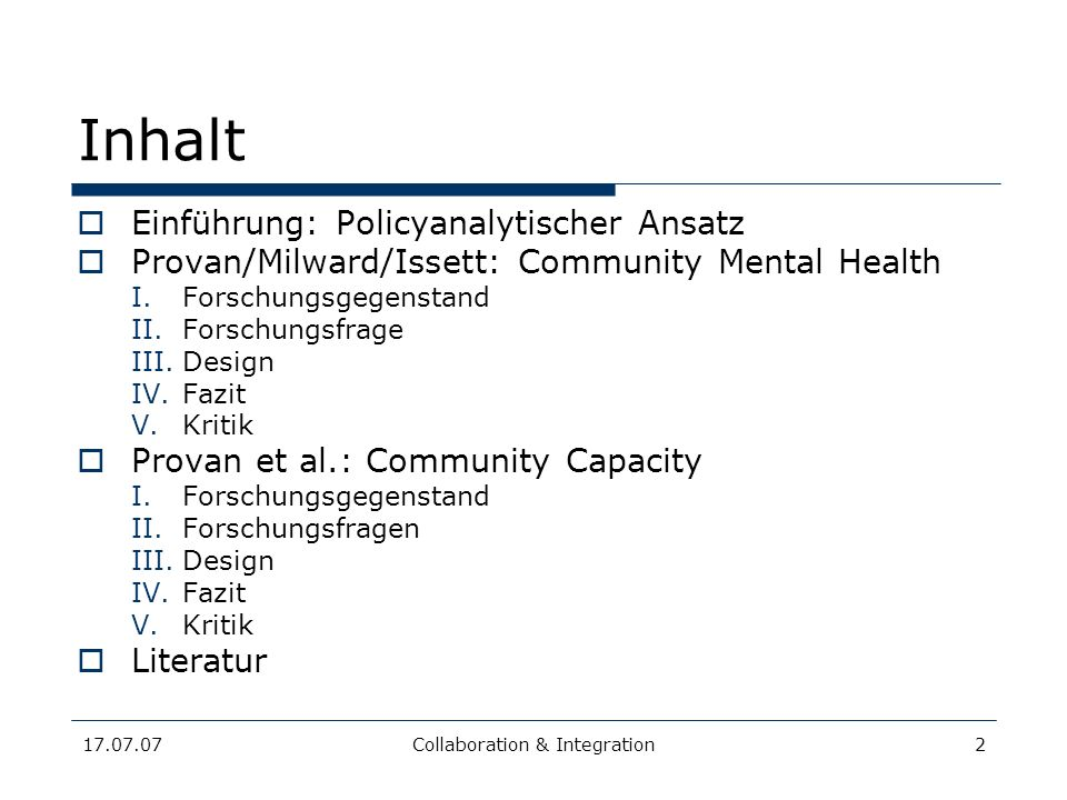 17.07.07Collaboration & Integration23 Provan et al.: Community Capacity II.