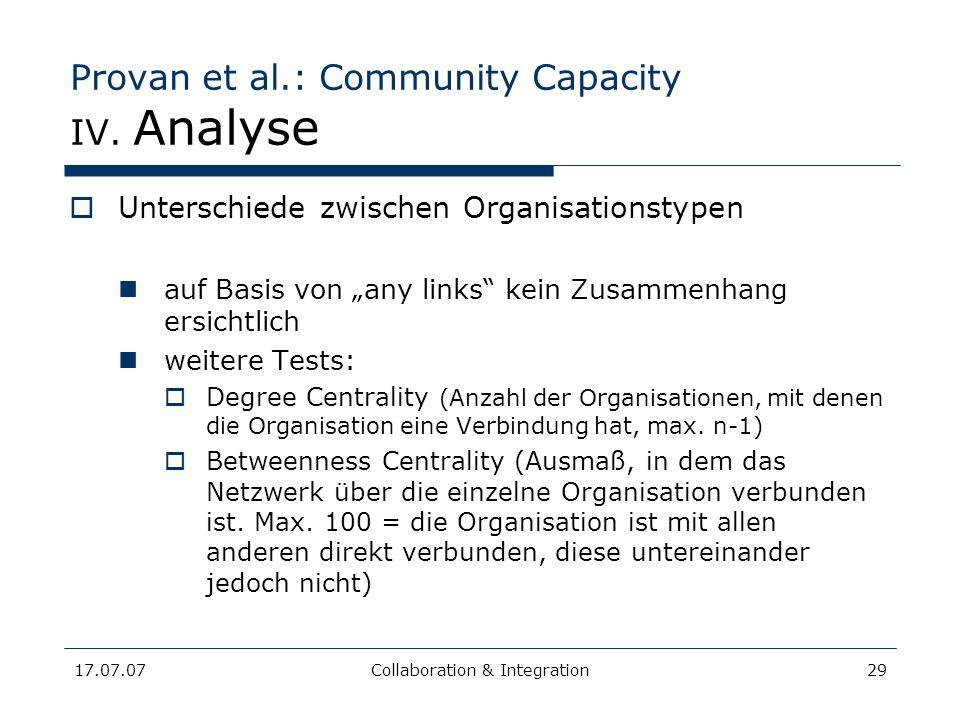 17.07.07Collaboration & Integration29 Provan et al.: Community Capacity IV. Analyse Unterschiede zwischen Organisationstypen auf Basis von any links k