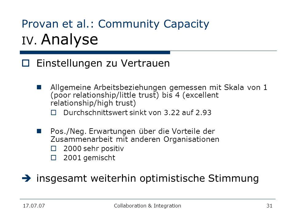 17.07.07Collaboration & Integration31 Provan et al.: Community Capacity IV. Analyse Einstellungen zu Vertrauen Allgemeine Arbeitsbeziehungen gemessen