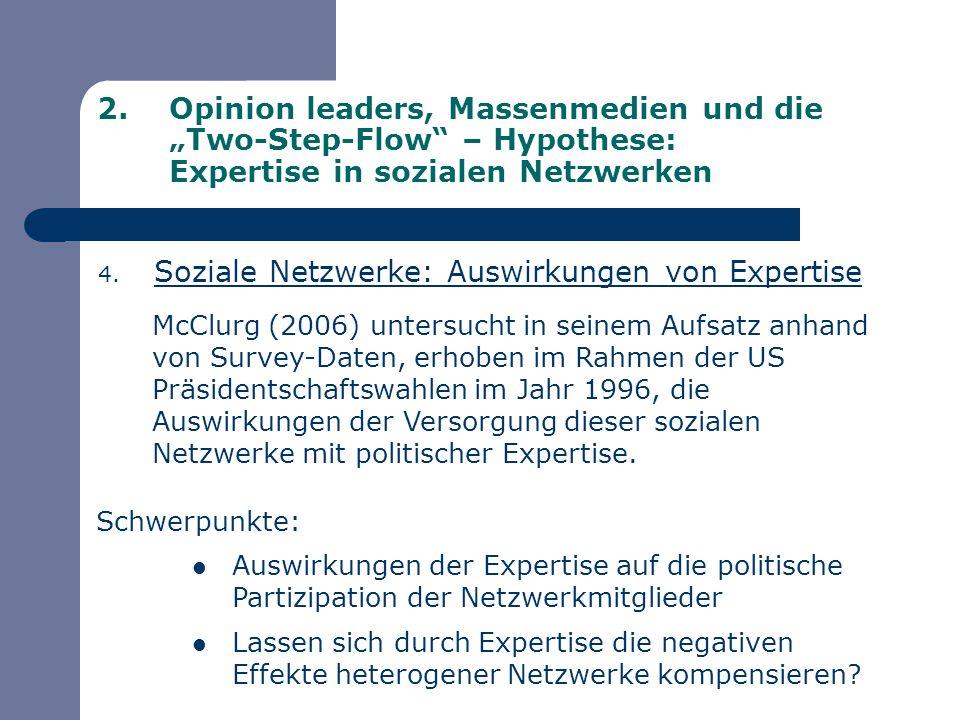 2.Opinion leaders, Massenmedien und die Two-Step-Flow – Hypothese: Expertise in sozialen Netzwerken 4. Soziale Netzwerke: Auswirkungen von Expertise M