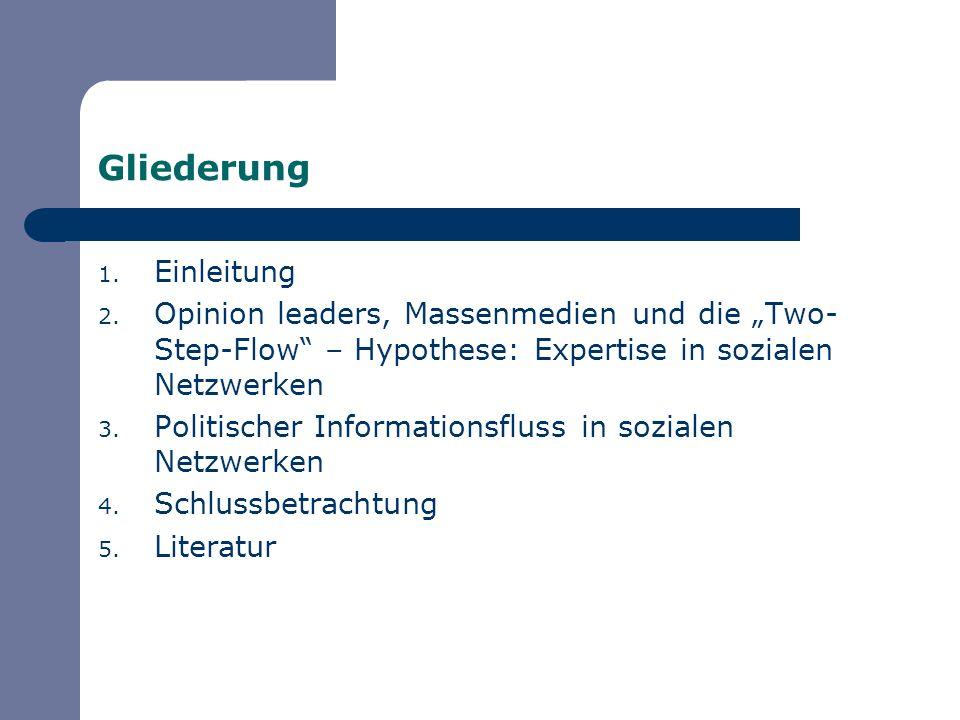 Gliederung 1. Einleitung 2. Opinion leaders, Massenmedien und die Two- Step-Flow – Hypothese: Expertise in sozialen Netzwerken 3. Politischer Informat