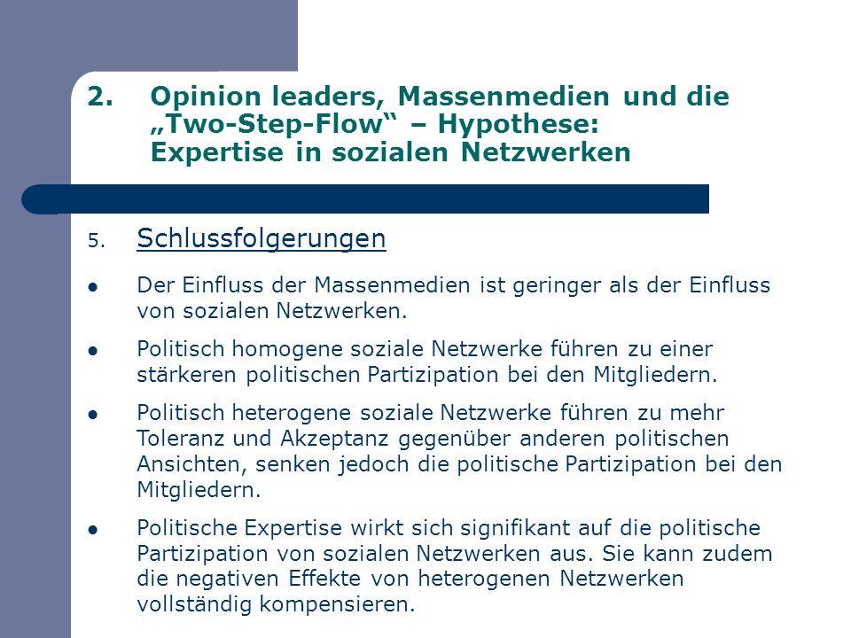 2.Opinion leaders, Massenmedien und die Two-Step-Flow – Hypothese: Expertise in sozialen Netzwerken 5. Schlussfolgerungen Der Einfluss der Massenmedie