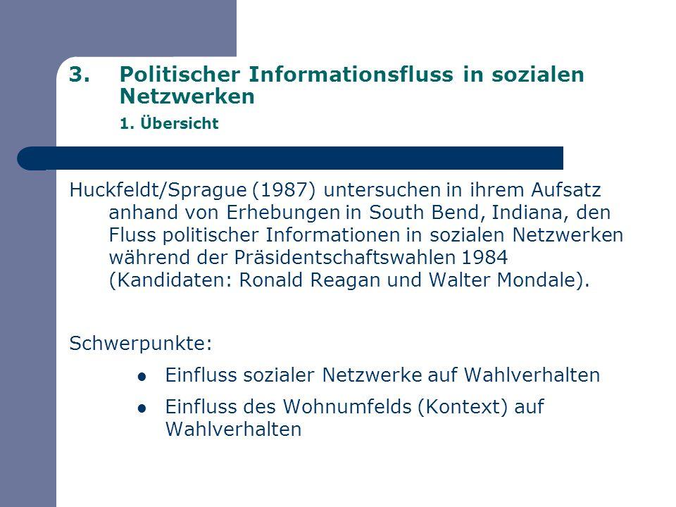 3.Politischer Informationsfluss in sozialen Netzwerken 1. Übersicht Huckfeldt/Sprague (1987) untersuchen in ihrem Aufsatz anhand von Erhebungen in Sou