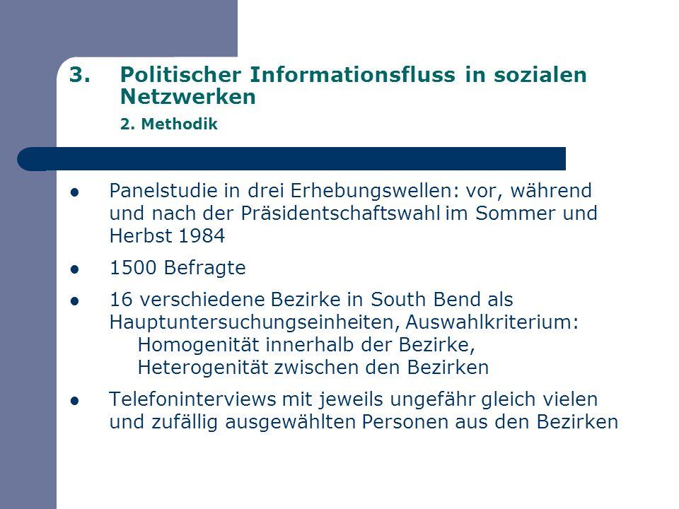3.Politischer Informationsfluss in sozialen Netzwerken 2. Methodik Panelstudie in drei Erhebungswellen: vor, während und nach der Präsidentschaftswahl