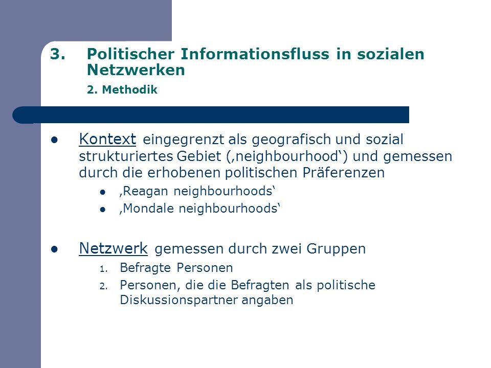 3.Politischer Informationsfluss in sozialen Netzwerken 2. Methodik Kontext eingegrenzt als geografisch und sozial strukturiertes Gebiet (neighbourhood