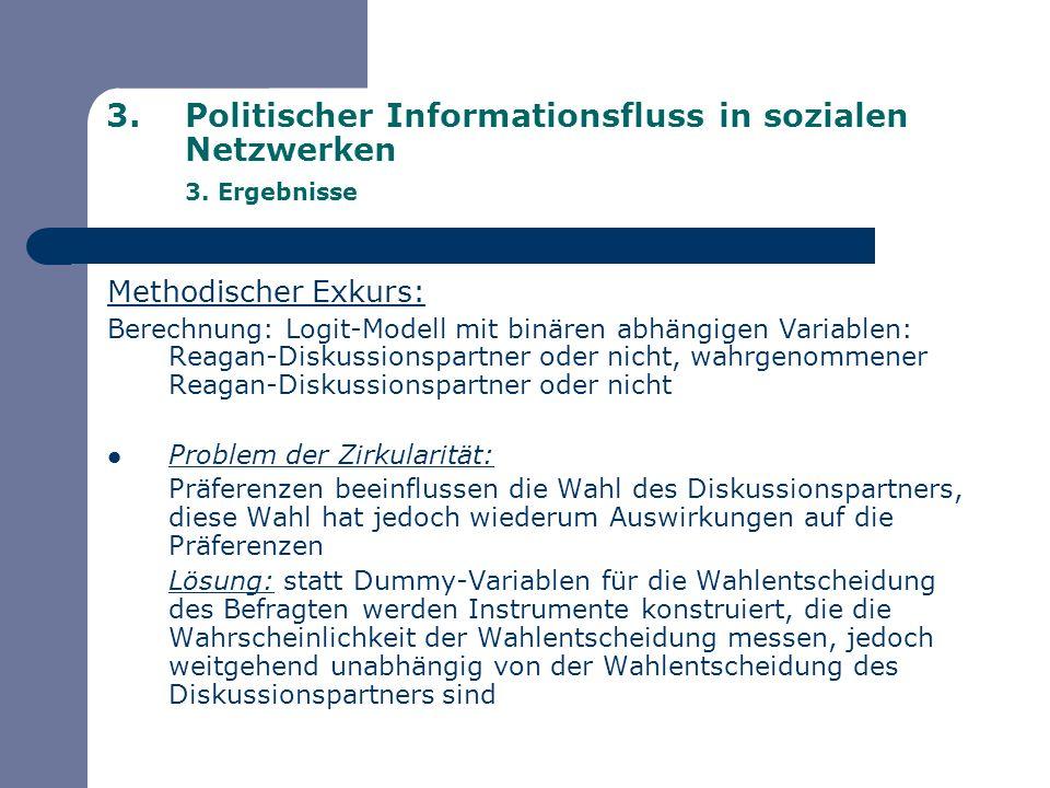 3.Politischer Informationsfluss in sozialen Netzwerken 3. Ergebnisse Methodischer Exkurs: Berechnung: Logit-Modell mit binären abhängigen Variablen: R