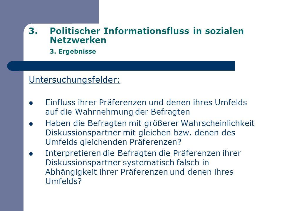 3.Politischer Informationsfluss in sozialen Netzwerken 3. Ergebnisse Untersuchungsfelder: Einfluss ihrer Präferenzen und denen ihres Umfelds auf die W