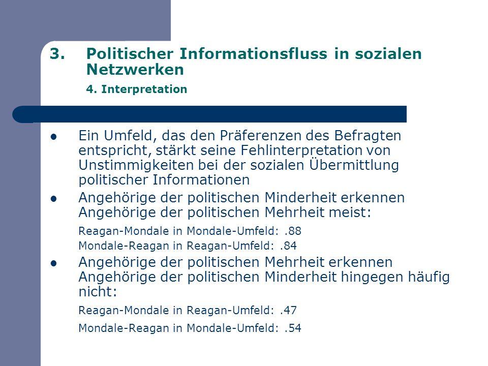 3.Politischer Informationsfluss in sozialen Netzwerken 4. Interpretation Ein Umfeld, das den Präferenzen des Befragten entspricht, stärkt seine Fehlin