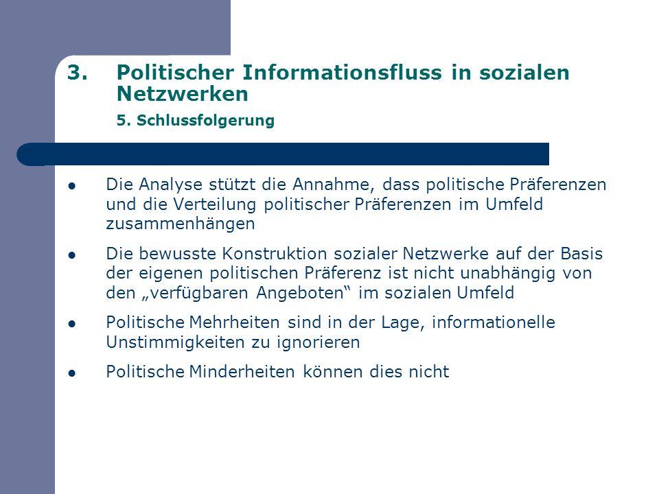 3.Politischer Informationsfluss in sozialen Netzwerken 5. Schlussfolgerung Die Analyse stützt die Annahme, dass politische Präferenzen und die Verteil