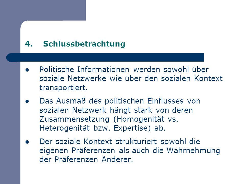 4.Schlussbetrachtung Politische Informationen werden sowohl über soziale Netzwerke wie über den sozialen Kontext transportiert. Das Ausmaß des politis