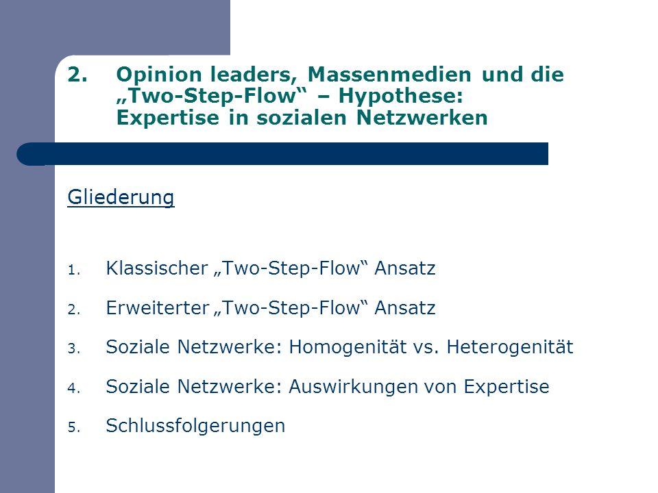 Gliederung 1. Klassischer Two-Step-Flow Ansatz 2. Erweiterter Two-Step-Flow Ansatz 3. Soziale Netzwerke: Homogenität vs. Heterogenität 4. Soziale Netz