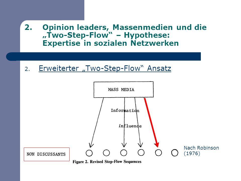 2.Opinion leaders, Massenmedien und die Two-Step-Flow – Hypothese: Expertise in sozialen Netzwerken 2.