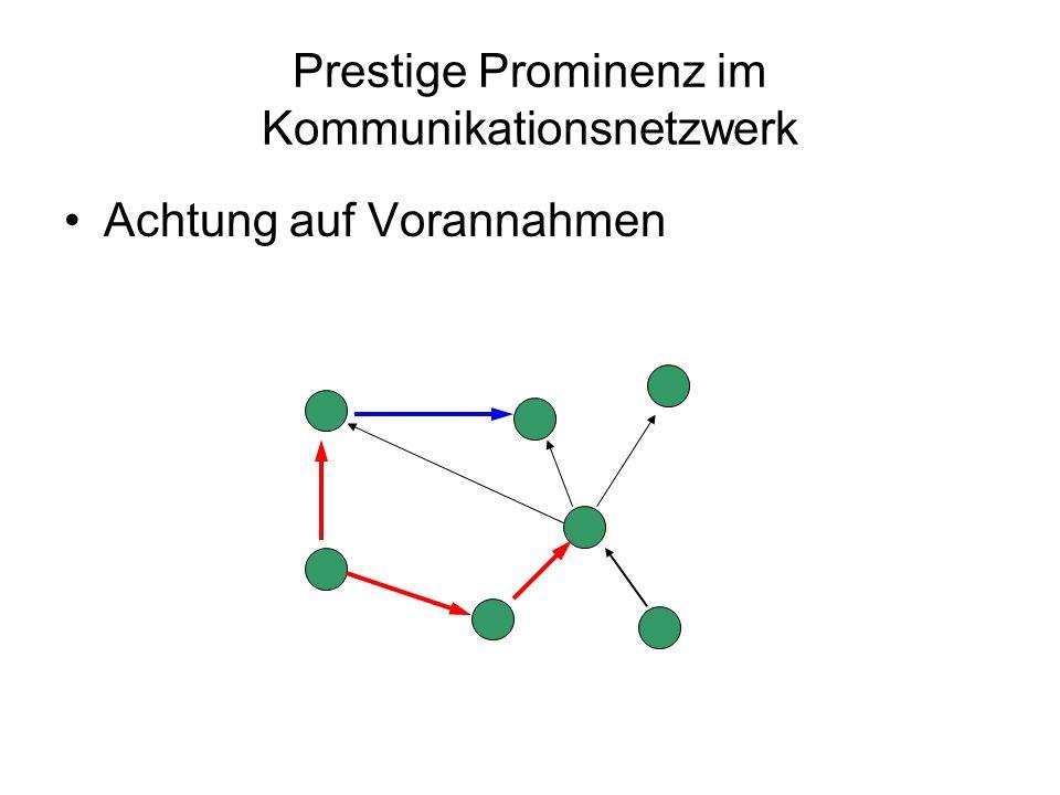 Prestige Prominenz im Kommunikationsnetzwerk Achtung auf Vorannahmen