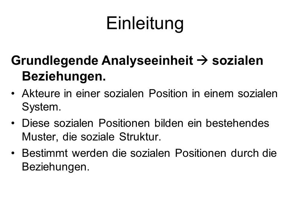 Einleitung Grundlegende Analyseeinheit sozialen Beziehungen. Akteure in einer sozialen Position in einem sozialen System. Diese sozialen Positionen bi