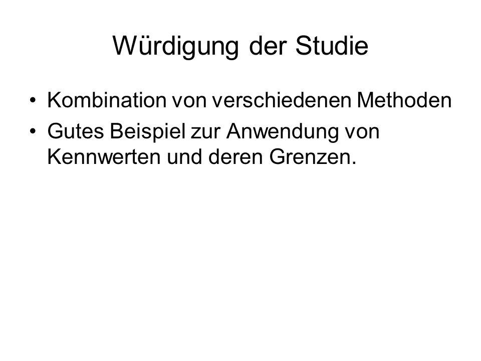 Würdigung der Studie Kombination von verschiedenen Methoden Gutes Beispiel zur Anwendung von Kennwerten und deren Grenzen.