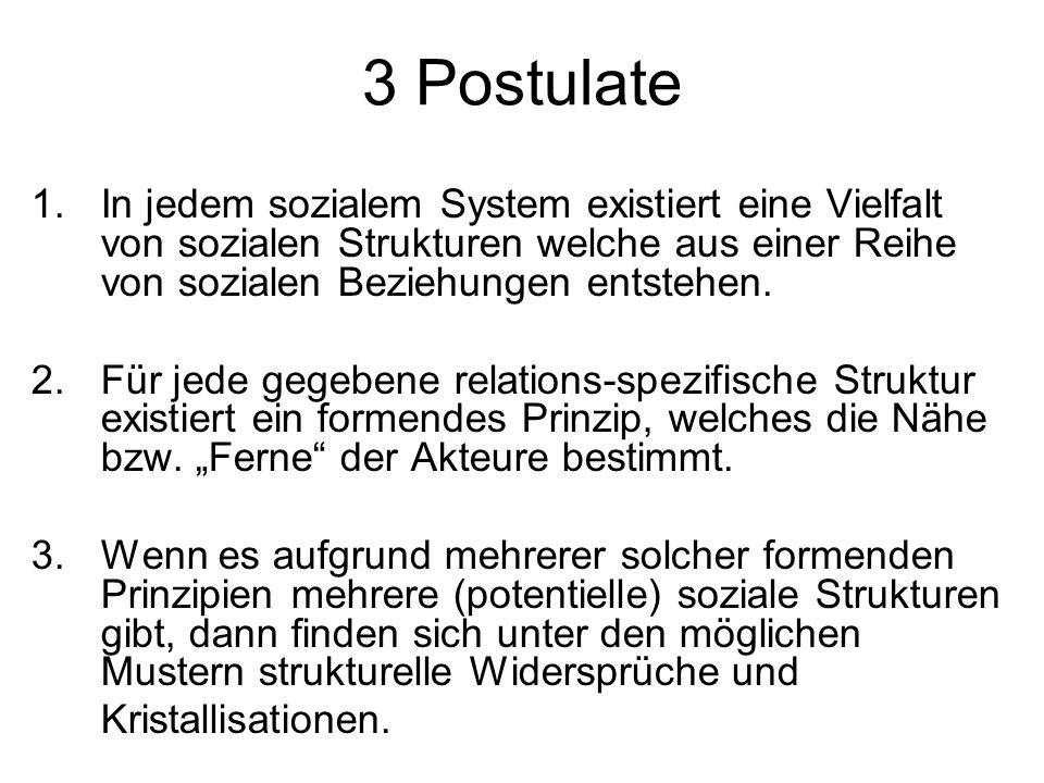 3 Postulate 1.In jedem sozialem System existiert eine Vielfalt von sozialen Strukturen welche aus einer Reihe von sozialen Beziehungen entstehen. 2. F