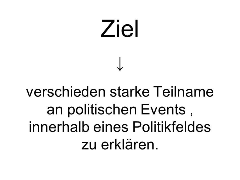 Ziel verschieden starke Teilname an politischen Events, innerhalb eines Politikfeldes zu erklären.