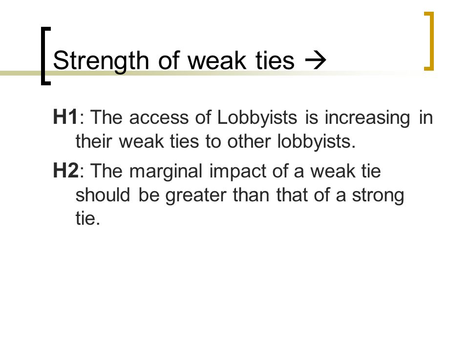 Strength of weak ties H1 : The access of Lobbyists is increasing in their weak ties to other lobbyists. H2 : The marginal impact of a weak tie should