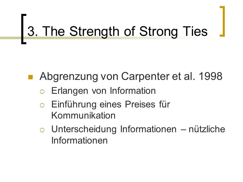 3. The Strength of Strong Ties Abgrenzung von Carpenter et al. 1998 Erlangen von Information Einführung eines Preises für Kommunikation Unterscheidung