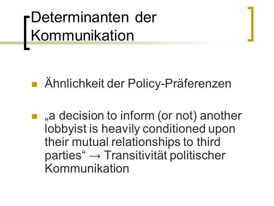 Determinanten der Kommunikation Ähnlichkeit der Policy-Präferenzen a decision to inform (or not) another lobbyist is heavily conditioned upon their mu