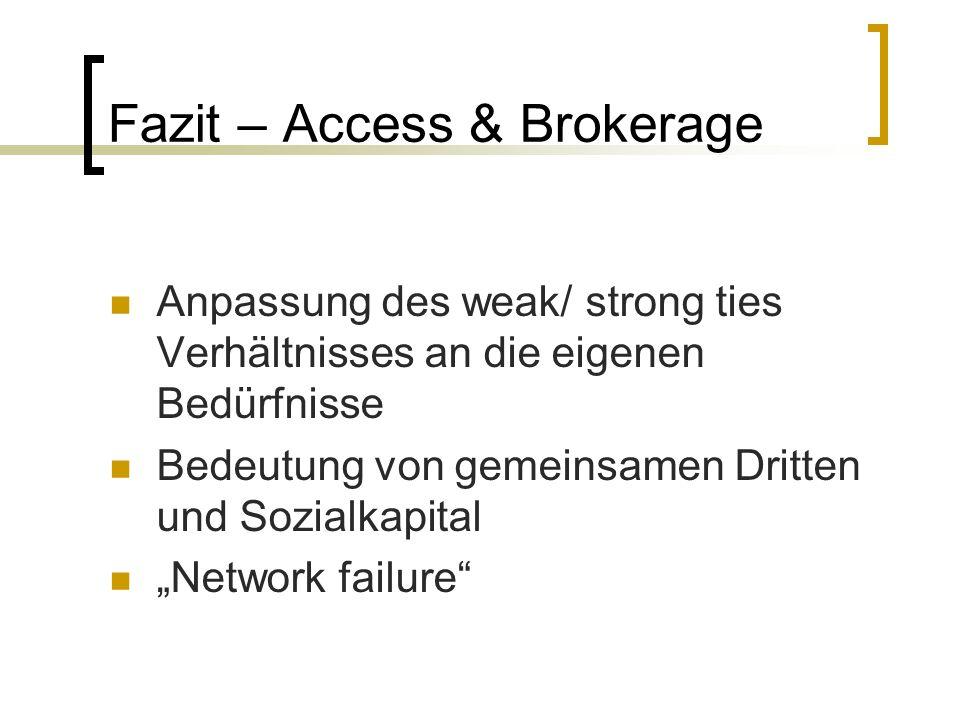 Fazit – Access & Brokerage Anpassung des weak/ strong ties Verhältnisses an die eigenen Bedürfnisse Bedeutung von gemeinsamen Dritten und Sozialkapita