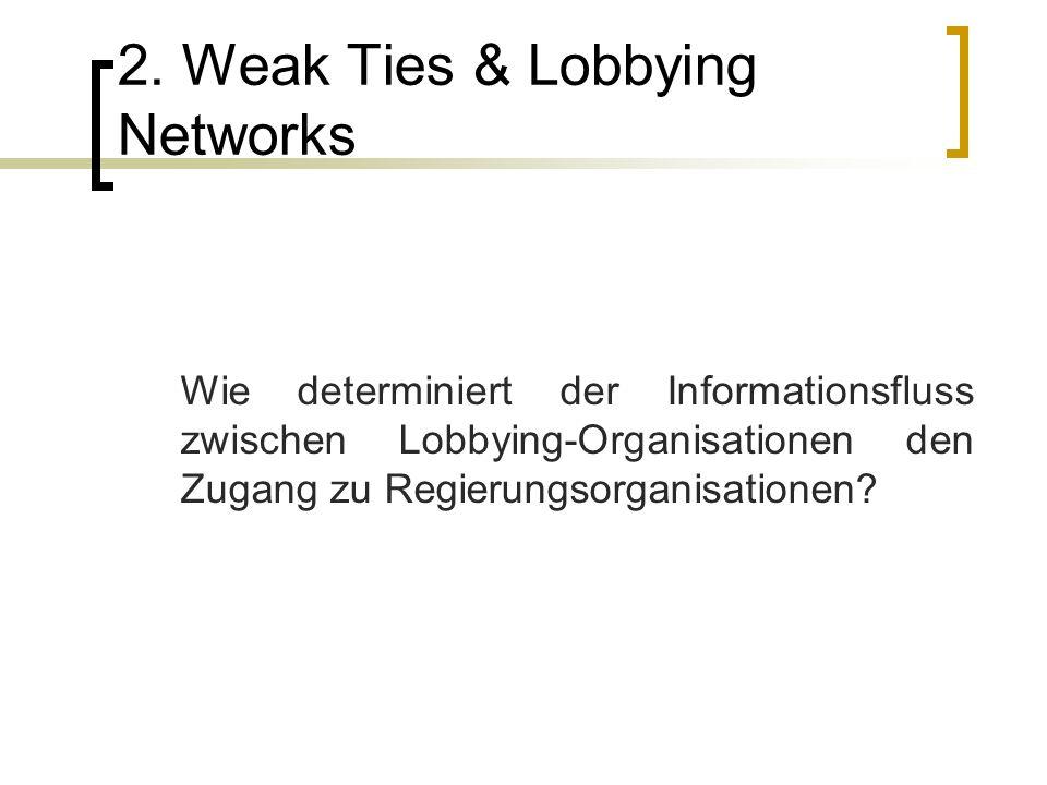 2. Weak Ties & Lobbying Networks Wie determiniert der Informationsfluss zwischen Lobbying-Organisationen den Zugang zu Regierungsorganisationen?