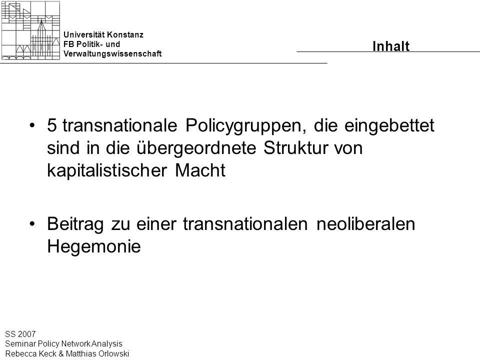 Universität Konstanz FB Politik- und Verwaltungswissenschaft SS 2007 Seminar Policy Network Analysis Rebecca Keck & Matthias Orlowski Inhalt 5 transna
