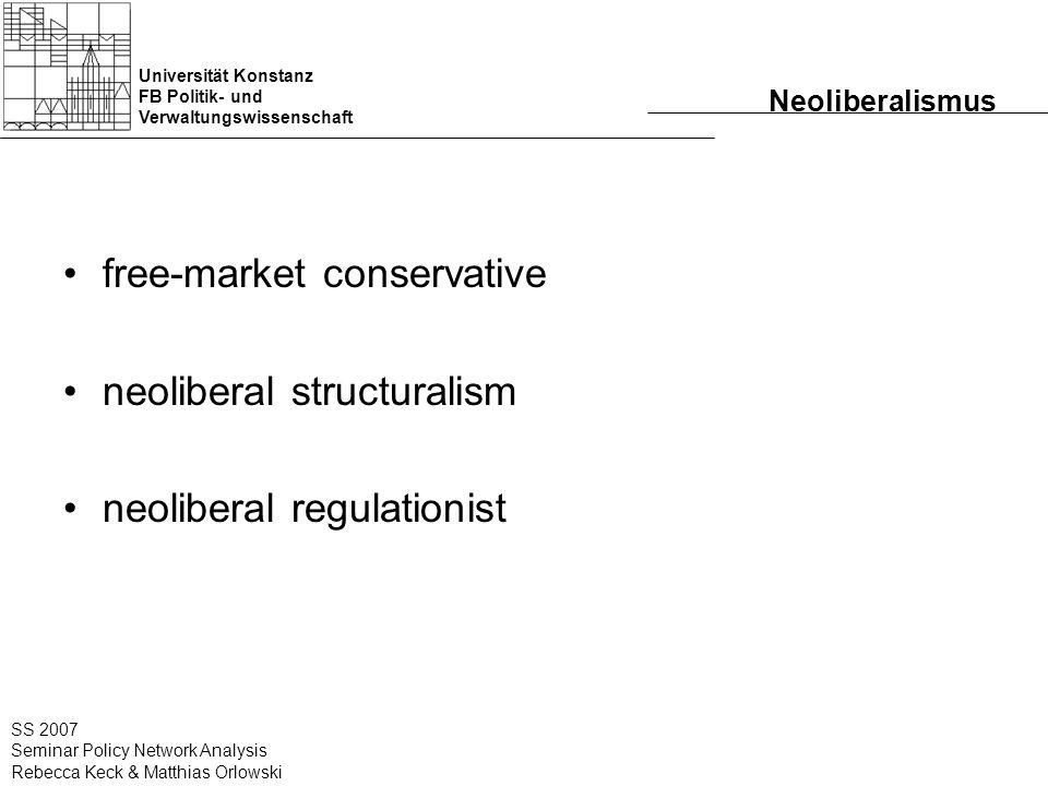Universität Konstanz FB Politik- und Verwaltungswissenschaft SS 2007 Seminar Policy Network Analysis Rebecca Keck & Matthias Orlowski Neoliberalismus