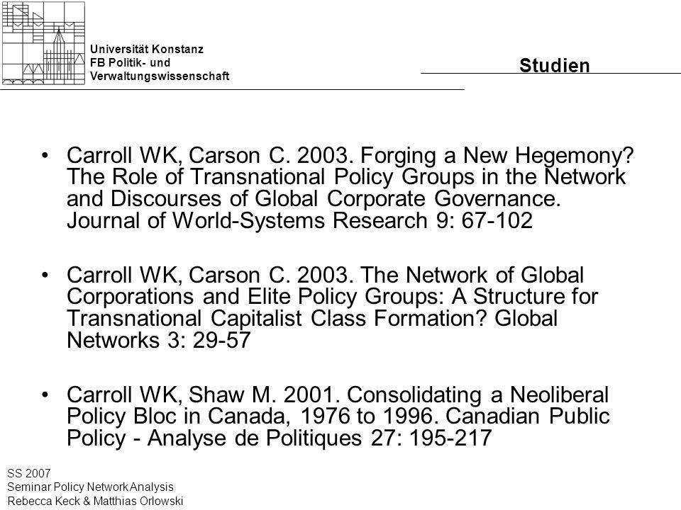 Universität Konstanz FB Politik- und Verwaltungswissenschaft SS 2007 Seminar Policy Network Analysis Rebecca Keck & Matthias Orlowski Netzwerk der Policygruppen 91 18 15 40 4 4 5 7 3 3 4 1 1